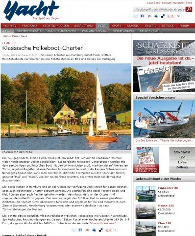 Yacht online über klassisch am wind, April 2013