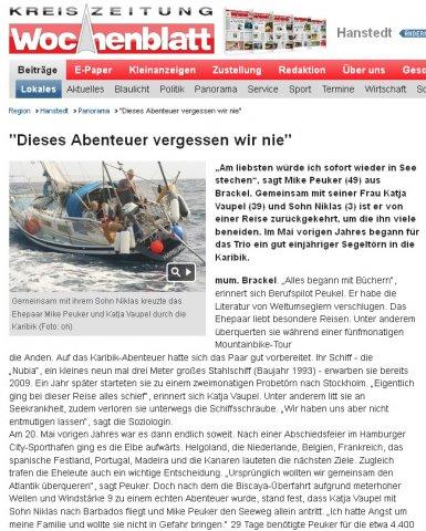 Wochenblatt über die NUKAMINI-Reise der klassisch am wind crew, Dezember 2012
