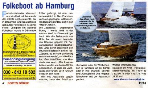 """Bootsbörse über """"Jacaranda"""" - das neue Folkeboot von klassisch am wind, November 2013"""