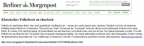 """Berliner Morgenpost über """"Jacaranda"""" - das neue Folkeboot von klassisch am wind, November 2013"""