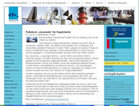 """mediamaritim international über """"Jacaranda"""" - das neue Folkeboot von klassisch am wind, November 2013"""
