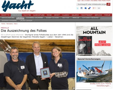 """klassisch am wind in der Yacht Online im November 2014 Verleihung der Medaille """"Segeln Lieben Bewahren"""" auf der Hanseboot"""